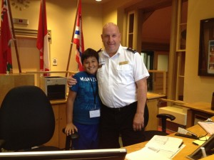 Carlos with Chico--welcomer, security, the heart of City Hall.
